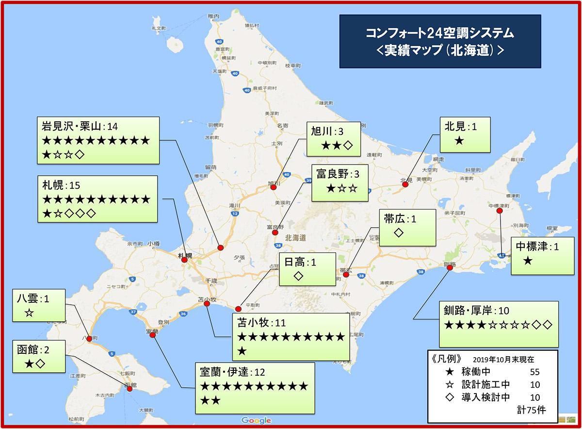 全館空調のコンフォート24導入実績マップ(北海道)